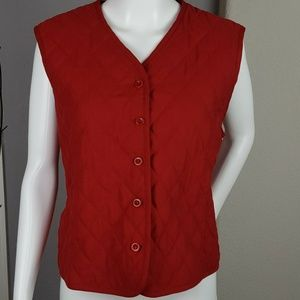 Pendleton Red Lined Button Up Puffer Vest Large